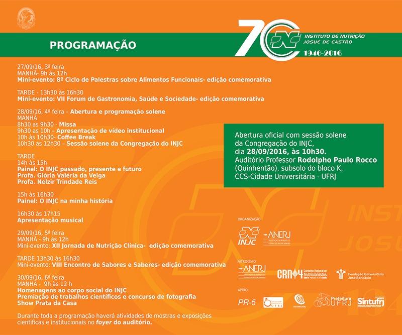 programação evento 70 anos INJC