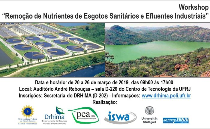 RJ, 20 a 26 de março - Workshop gratuito debate sobre remoção de nutrientes nas águas e efluentes